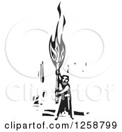 Clipart Of A Black And White Woodcut Man Holding Up A Torch Royalty Free Vector Illustration