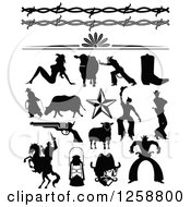 Clipart Of Black Silhouetted Western Cowboys Cowgirls Borders And Accessories Royalty Free Vector Illustration by Andy Nortnik