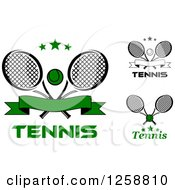 Clipart Of Stars Crossed Tennis Rackets And Balls With Text Royalty Free Vector Illustration