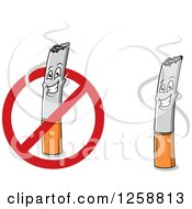 Clipart Of Happy Cigarette Characters And A Restricted Sign Royalty Free Vector Illustration