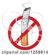 Clipart Of A Happy Cigarette Character In A Restricted Sign Royalty Free Vector Illustration