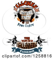 Clipart Of Halloween Themed Retail Sale Designs Royalty Free Vector Illustration