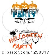 Clipart Of Halloween Party Trick Or Treat Designs Royalty Free Vector Illustration