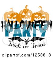 Clipart Of A Flying Bat Under Jackolanterns With Halloween Party Trick Or Treat Text Royalty Free Vector Illustration