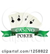 Clipart Of Playing Cards Over A Green Banner With Casino Poker Text Royalty Free Vector Illustration
