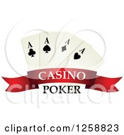 Clipart Of Playing Cards Over A Red Banner With Casino Poker Text Royalty Free Vector Illustration