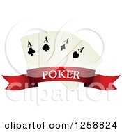 Clipart Of Playing Cards Over A Red Banner With Poker Text Royalty Free Vector Illustration