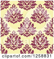 Clipart Of A Seamless Background Pattern Of Damask Floral Royalty Free Vector Illustration