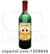 Clipart Of A Wine Bottle Character Royalty Free Vector Illustration by Vector Tradition SM