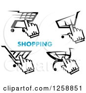 Clipart Of Black And White Hand Cursors Over Shopping Carts With Blue Text Royalty Free Vector Illustration by Vector Tradition SM