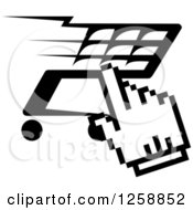 Clipart Of A Black And White Hand Cursor Over A Shopping Cart Royalty Free Vector Illustration by Vector Tradition SM