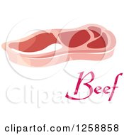 Clipart Of A Beef Steak Over Text Royalty Free Vector Illustration