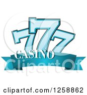 Clipart Of A Triple Lucky Sevens Over Casino Text Royalty Free Vector Illustration