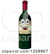 Clipart Of A Happy Wine Bottle Royalty Free Vector Illustration by Vector Tradition SM