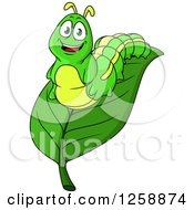 Clipart Of A Green Caterpillar On A Leaf Royalty Free Vector Illustration by Vector Tradition SM