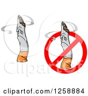 Clipart Of Sad Cigarettes Royalty Free Vector Illustration