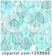 Clipart Of A Seamless Background Pattern Of Blue Skeleton Leaves Royalty Free Vector Illustration