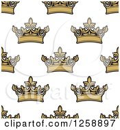 Clipart Of A Seamless Background Pattern Of Gold Crowns Royalty Free Vector Illustration