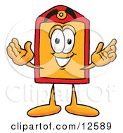 Price Tag Mascot Cartoon Character With Welcoming Open Arms