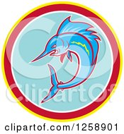 Clipart Of A Swimming Marlin Fish In A Yellow Red White And Blue Circle Royalty Free Vector Illustration