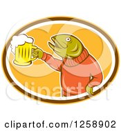 Clipart Of A Trout Fish Holding Up A Beer Mug In A Yellow Brown And White Oval Royalty Free Vector Illustration