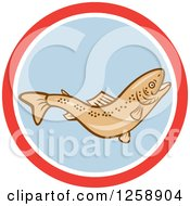 Clipart Of A Rainbow Trout Fish In A Red White And Blue Circle Royalty Free Vector Illustration