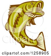Clipart Of A Retro Woodcut Largemouth Bass Fish Jumping Royalty Free Vector Illustration by patrimonio