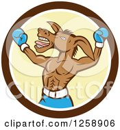Clipart Of A Cartoon Democratic Donkey Boxer In A Brown White And Yellow Circle Royalty Free Vector Illustration by patrimonio
