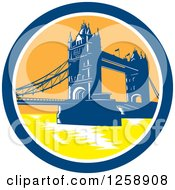 Clipart Of A Woodcut Of The London Tower Bridge In A Circle Royalty Free Vector Illustration