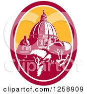 Woodcut Of The Dome Of St Peters Basilica Vatican Church In Rome Italy