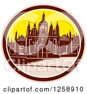 Clipart Of A Woodcut Of Kings College Building University Of Cambridge Royalty Free Vector Illustration