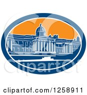 Clipart Of A Woodcut Of The National Gallery Building In Trafalgar Square London England Royalty Free Vector Illustration