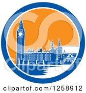 Clipart Of A Woodcut Of Westminster Palace In London England With Big Ben In A Blue White And Orange Circle Royalty Free Vector Illustration