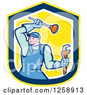 Clipart Of A Cartoon Male Plumber With A Plunger And Monkey Wrench In A Yellow Blue And White Shield Royalty Free Vector Illustration by patrimonio