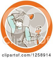 Retro Cartoon Male Plumber With A Plunger And Monkey Wrench In An Orange White And Taupe Circle