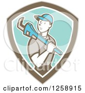 Poster, Art Print Of Cartoon White Male Plumber With A Monkey Wrench Over His Shoulder In A Brown White And Turquoise Shield