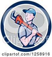 Poster, Art Print Of Cartoon White Male Plumber With A Monkey Wrench Over His Shoulder In A Blue White And Gray Circle