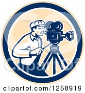 Clipart Of A Retro Cameraman Filming In A Tan Blue And White Circle Royalty Free Vector Illustration by patrimonio