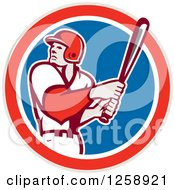 Clipart Of A Retro White Male Baseball Player Batting In A Red White And Blue Circle Royalty Free Vector Illustration by patrimonio