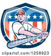 Clipart Of A Cartoon White Male Baseball Player Batting Over An American Flag Shield Royalty Free Vector Illustration by patrimonio