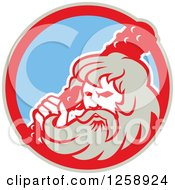 Clipart Of A Retro Hercules Holding A Club In A Tan Red And Blue Circle Royalty Free Vector Illustration