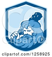 Clipart Of A Retro Hercules Holding A Club In A Blue And White Shield Royalty Free Vector Illustration