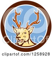 Clipart Of A Cartoon Happy Buck Deer In A Brown White And Blue Circle Royalty Free Vector Illustration