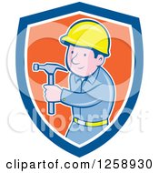 Cartoon Handyman Or Carpenter With A Hammer In A Blue White And Orange Shield