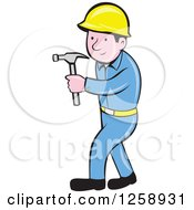 Clipart Of A Cartoon Handyman Or Carpenter With A Hammer Royalty Free Vector Illustration by patrimonio