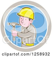 Cartoon Handyman Or Carpenter With A Hammer In A Taupe White And Blue Circle