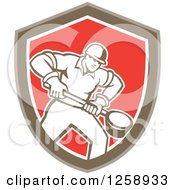 Clipart Of A Retro Male Foundry Worker Holding A Ladle In A Brown White And Red Shield Royalty Free Vector Illustration by patrimonio