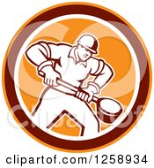 Clipart Of A Retro Male Foundry Worker Holding A Ladle In An Orange Brown And White Circle Royalty Free Vector Illustration