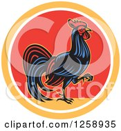 Clipart Of A Retro Rooster Walking In A Yellow White And Red Circle Royalty Free Vector Illustration