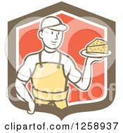 Clipart Of A Retro Cartoon Male Cheesemaker Holding A Parmesan Block In A Brown White And Red Shield Royalty Free Vector Illustration